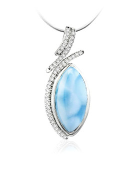 MarahLago Vista Collection Larimar Pendant with White Sapphire