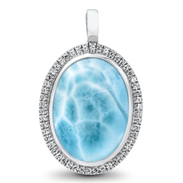 Marahlago clarity collection oval larimar pendantnecklace with marahlago clarity oval larimar pendantnecklace aloadofball Gallery