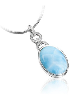 MarahLago Aden Larimar Pendant/Necklace with White Topaz