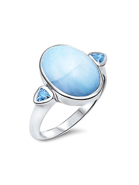 MarahLago Naples Collection Larimar Ring with Blue Topaz