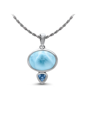 MarahLago Naples Collection Larimar Pendant/Necklace with Blue Topaz