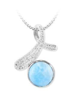 MarahLago Ellie Collection Larimar Pendant/Necklace with White Topaz