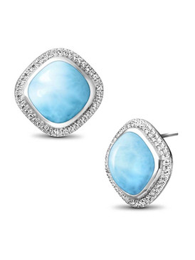 MarahLago Clarity Square Larimar Earrings with White Sapphire