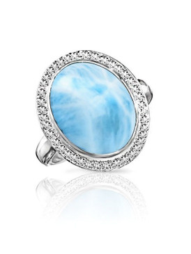 MarahLago Clarity Collection Oval Larimar Ring