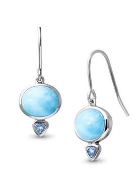 MarahLago Naples Larimar Earrings with Blue Topaz - 3x4