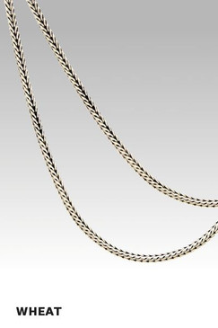 Oxidized Sterling Silver 1.5mm Wheat Chain