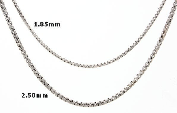 Round Box-Link Sterling Silver Chain  - CloseUp