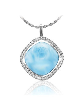 MarahLago Clarity Collection Square Larimar Pendant/Necklace with White Sapphire