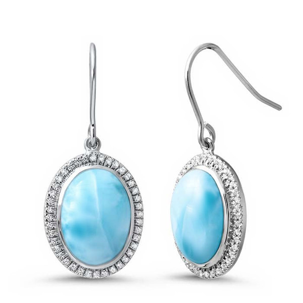 MarahLago Clarity Oval Larimar Earrings with White Sapphire
