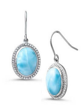 MarahLago Clarity Oval Larimar Earrings with White Sapphire - 3x4