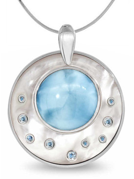 MarahLago Athena Collection Round Larimar Necklace with Blue Spinel - 3x4