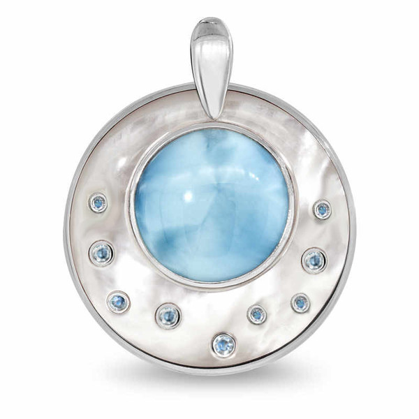 MarahLago Athena Collection Round Larimar Necklace with Blue Spinel