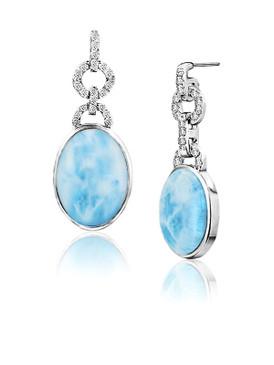 MarahLago Aden Larimar Earrings with White Sapphire 3x4