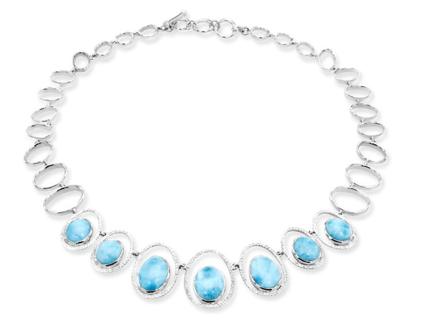 MarahLago Osaka Larimar Necklace with White Sapphire (Large)