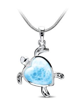 MarahLago Marine Life Collection Larimar Turtle Heart Pendant/Necklace