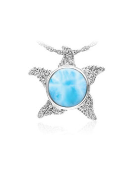 MarahLago Marine Life Collection Larimar Starfish Pendant/Necklace with White Sapphire