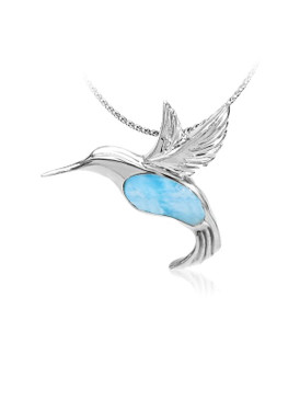 MarahLago Wildlife Collection Larimar Hummingbird Pendant/Necklace