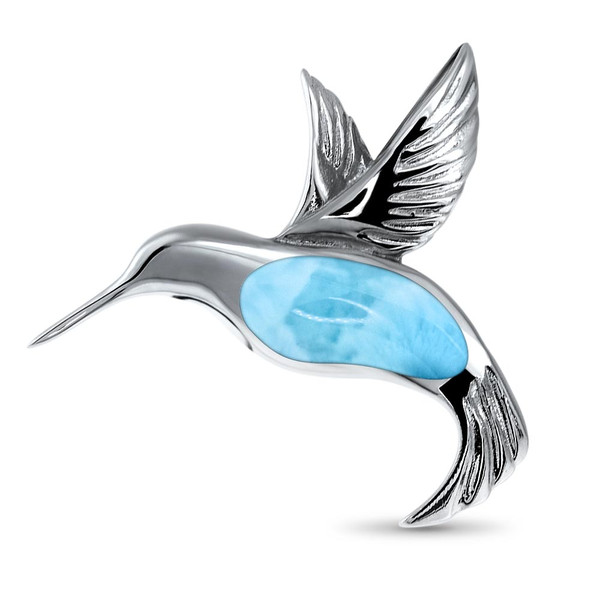 MarahLago Wildlife Larimar Hummingbird Necklace