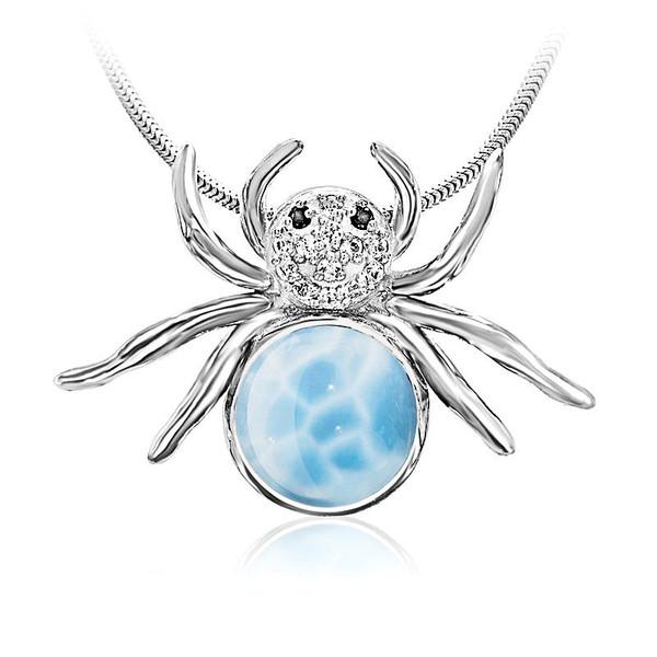 MarahLago Wildlife Larimar Spider Pendant/Necklace with White Sapphire & Black Spinel