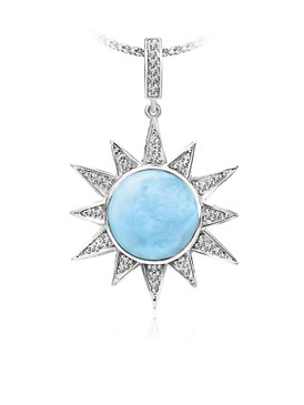 MarahLago Solstice Collection Larimar Pendant/Necklace with White Sapphire