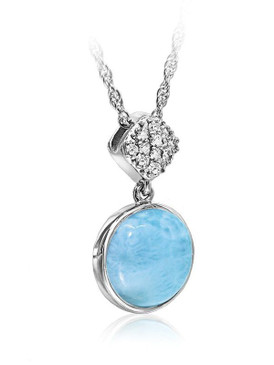 MarahLago Bliss Larimar Pendant/Necklace with White Sapphire