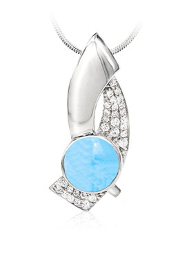 MarahLago Nala Larimar Pendant/Necklace with White Sapphire