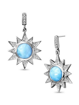 MarahLago Solstice Larimar Earrings with White Sapphire - 3x4