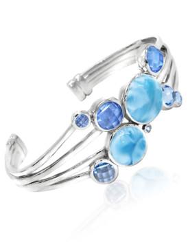 MarahLago Karisma Collection Larimar Cuff Bracelet with Blue Topaz