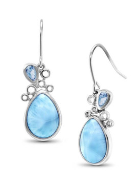 MarahLago Siria Larimar Earrings with Blue Topaz - 3x4