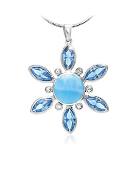 MarahLago Elsa Collection Larimar Pendant/Necklace with Blue Topaz