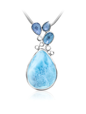 MarahLago Siria Collection Larimar Pendant with Blue Topaz