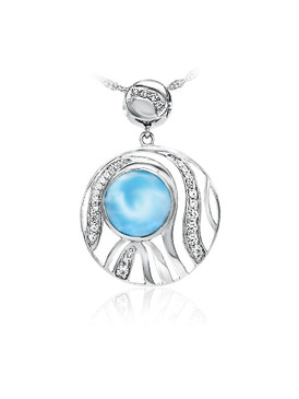MarahLago Chroma Larimar Pendant/Necklace with White Sapphire