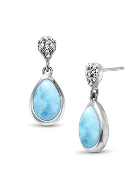 MarahLago Liberty Larimar Earrings with White Sapphire - 3x4