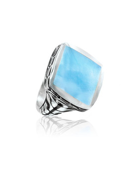 MarahLago Titan Collection Men's Larimar Ring