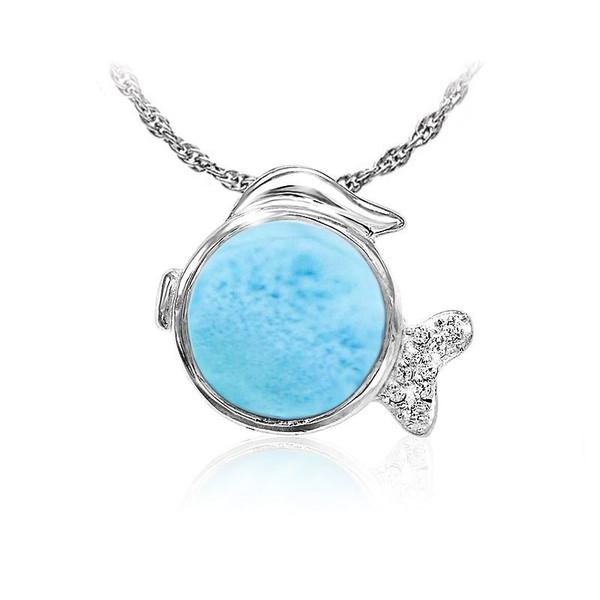 MarahLago Marine Life Larimar Fish Pendant/Necklace with White Sapphire