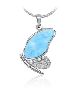 MarahLago Wild Life Larimar Butterfly Pendant/Necklace with White Sapphire