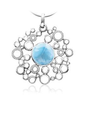 MarahLago Paradise Larimar Necklace with White Sapphire