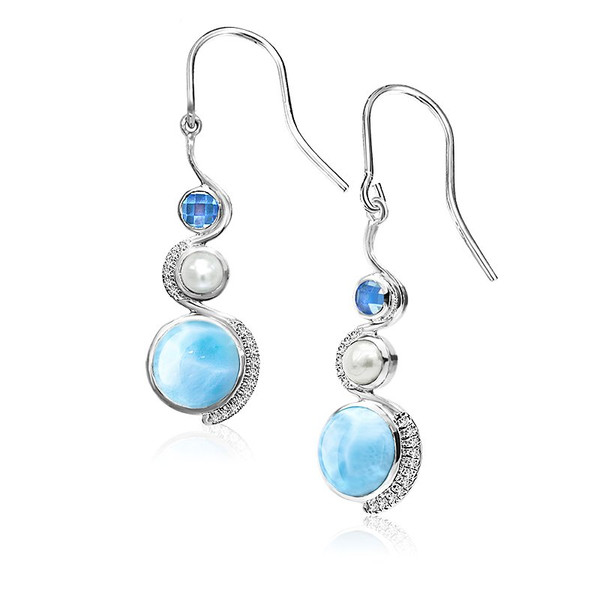 pear earrings larimar designer jewelry marahlago double