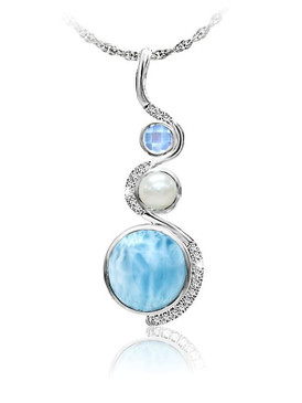 MarahLago Zen Collection Larimar Pendant/Necklace with Blue Spinel, Pearl & White Sapphire