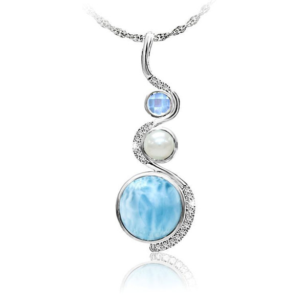 MarahLago Zen Collection Larimar Necklace with Blue Spinel, Pearl & White Sapphire