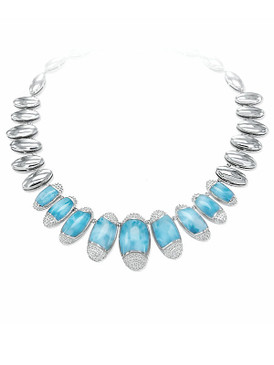 MarahLago Cascadia Collection Larimar Necklace with White Sapphire