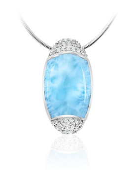 MarahLago Cascadia Collection Petite Larimar Necklace with White Sapphire