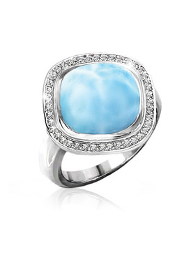 MarahLago Clarity Cushion Cut Larimar Ring with White Sapphire - set on diagonal