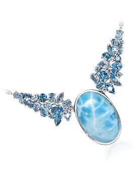 "MarahLago Grace ""Light"" Larimar Necklace with Blue Topaz"