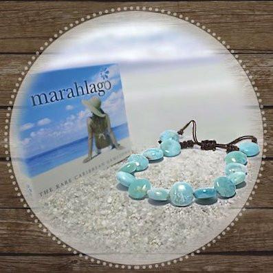 MarahLago Unisex Larimar Coin Bead Bracelet Gift-with-Purchase