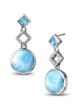 MarahLago Alexandria Collection Larimar Earrings with Blue Topaz and White Sapphire - Newly Restyled - 3x4