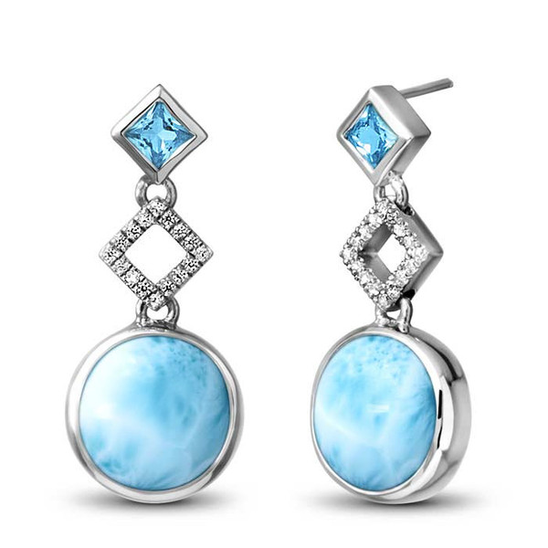 MarahLago Alexandria Collection Larimar Earrings with Blue Topaz and White Sapphire - Newly Restyled