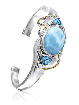 MarahLago Lena Collection Larimar Cuff Bracelet with 18k Gold & Blue Topaz - New Style - Open Cuff