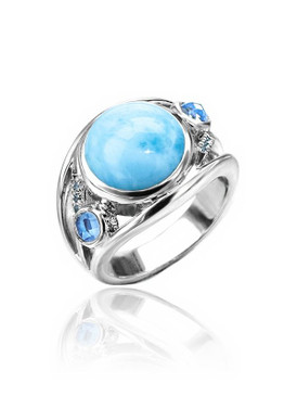 MarahLago Ellesmere Collection Larimar Ring with Blue Topaz