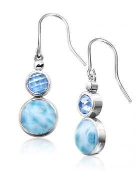 MarahLago Vienna Collection Larimar Earrings with Blue Topaz